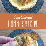 Traditionally prepared hummus recipe drizzled with olive oil and paprika and served with crackers.