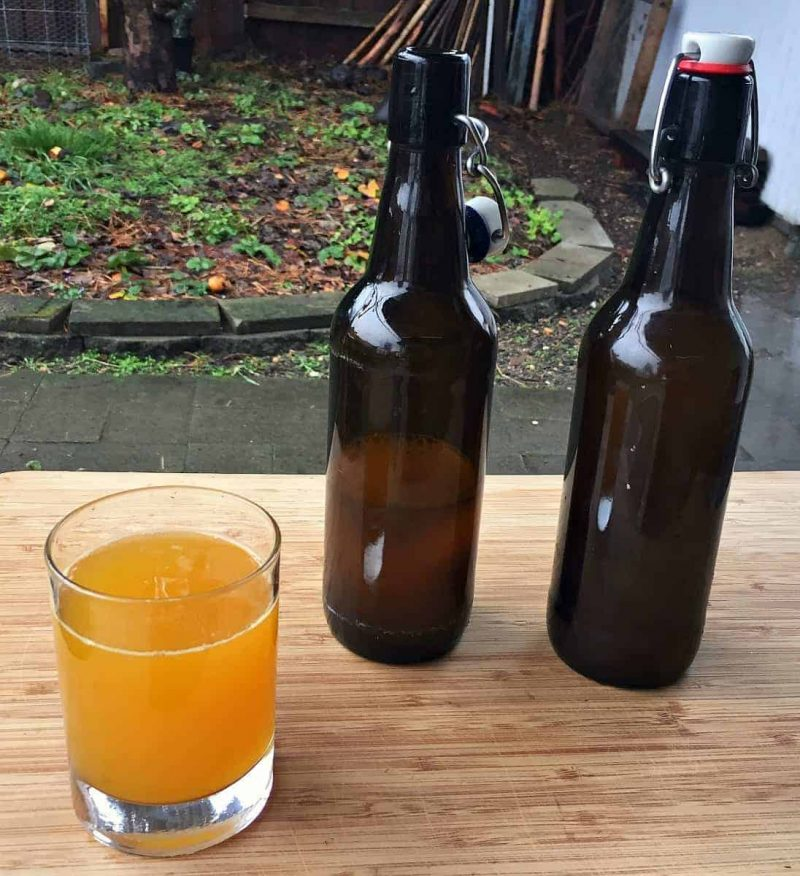 a glass of fermented turmeric soda and two flip top bottles