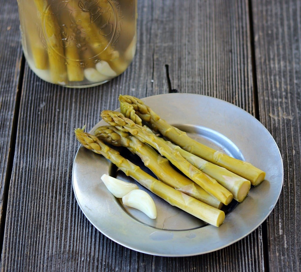 a plate of fermented asparagus