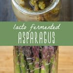 A jar of fermented asparagus with garlic.