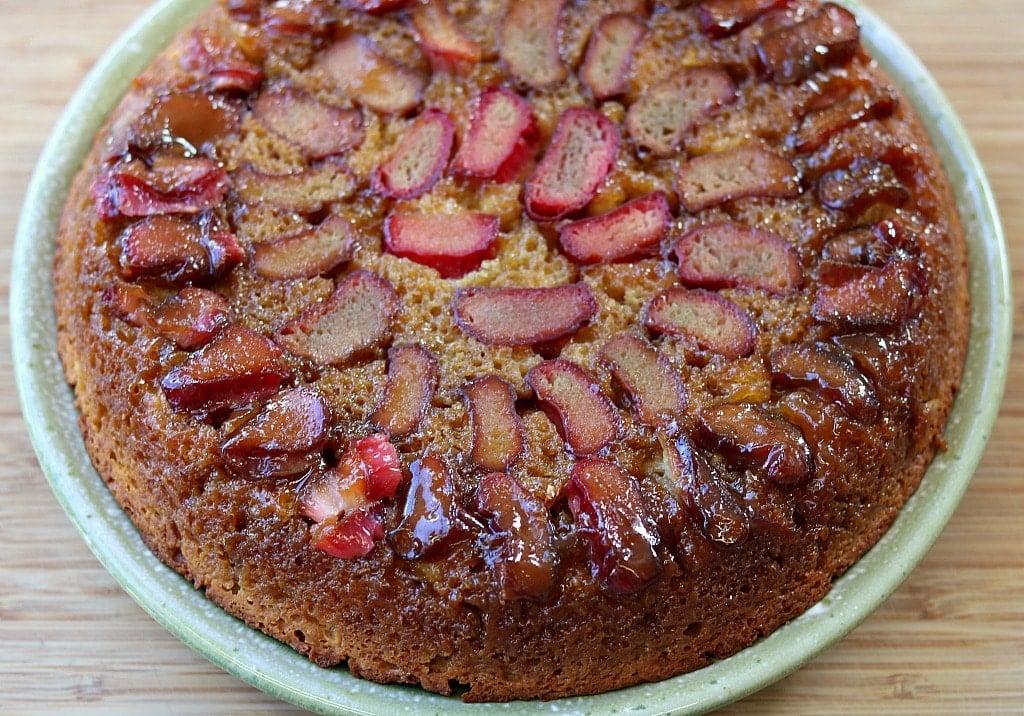 rhubarb upside down cake on a plate