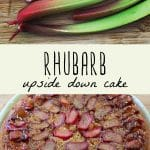 Freshly harvested rhubarb, and a whole rhubarb upside down cake on a blue plate.