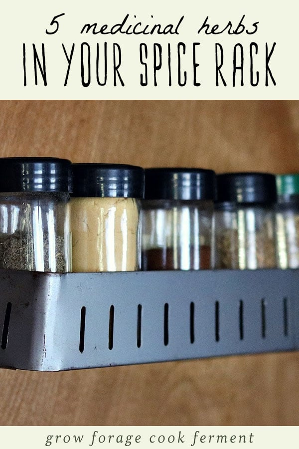 Jars of herbs on a spice rack.