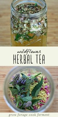 Dried wildflowers in a jar, and wildflowers infused in tea.