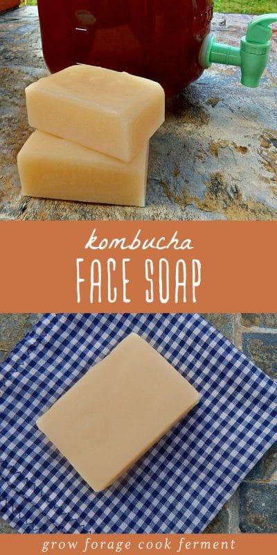 Several bars of homemade kombucha face soap.