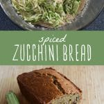 Zucchini bread batter in a bowl, and a loaf of homemade spiced zucchini bread on a cutting board.