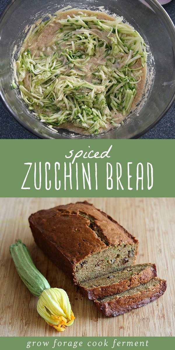 If you have a glut of garden zucchini, this is the recipe for you! Homemade zucchini bread is one my favorite recipes to make once the zucchini plants reach their peak in my summer garden! Made with fresh zucchini, lots of butter, and not too much sugar, this from scratch zucchini bread recipe is full of real, healthy foods and tastes amazing! #realfood #wholefoods #fromscratch #zucchini #bread #baking