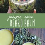 A jar of juniper infused oil and a tin of juniper spiced beard balm.