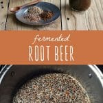 Bottles of fermented root beer on a wood table, and traditionally fermented root beer spices in a large pot.