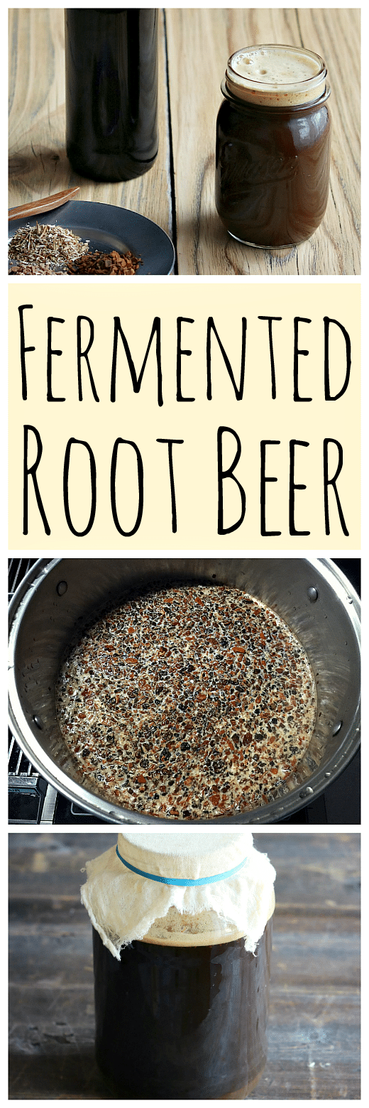 Learn how to make delicious homemade fermented root beer. Made with real roots and herb and a ginger bug for fermentation! #fermented #rootbeer #homemadesoda