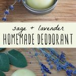 Tins of homemade deodorant with fresh sage and lavender.