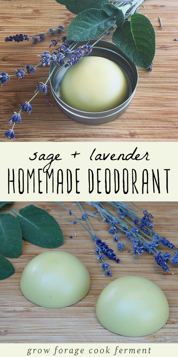 Homemade deodorant is easy to make and good for your health. This herbal deodorant recipe is made with lavender and sage, both herbs that have many beneficial properties. #homemadedeodorant #herbaldeodorant #deodorantrecipe #diy