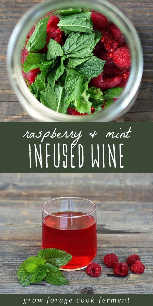 Raspberries and mint infusing in white wine, and a glass of raspberry mint infused wine.