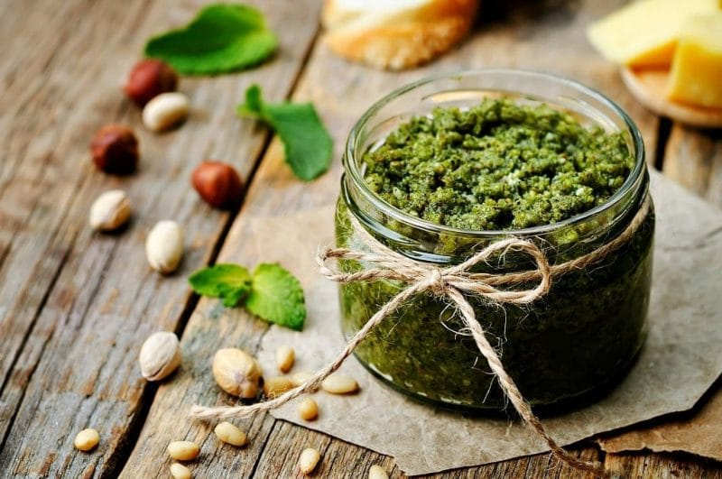 a jar of basil pesto