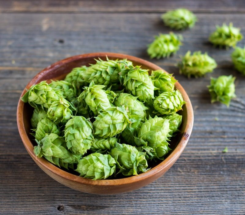a wooden bowl of hops