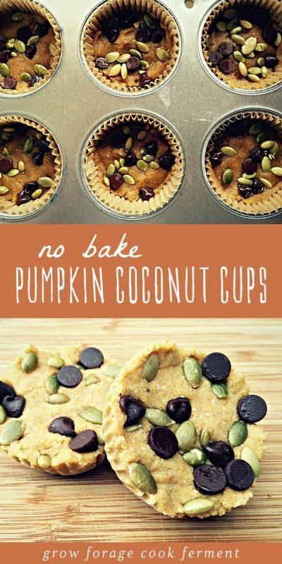 No bake pumpkin coconut cups in a muffin tin, and pumpkin coconut cups on a wood cutting board.