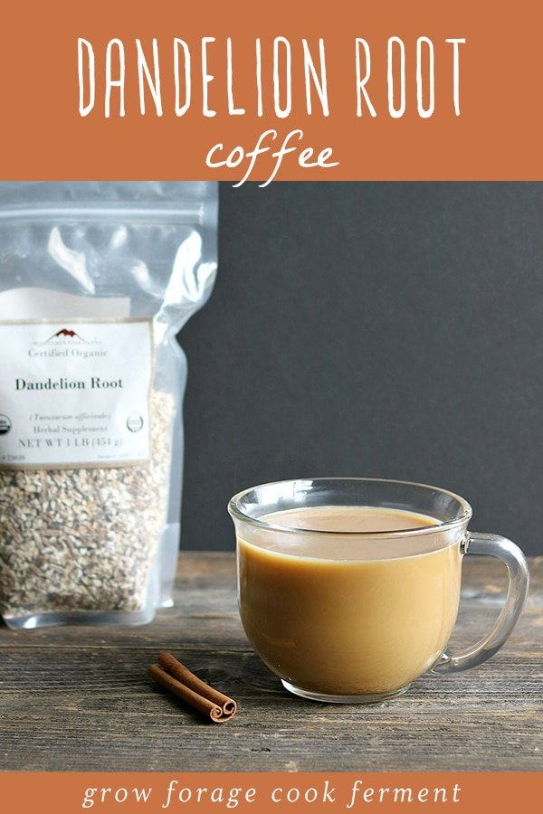 A bag of dried dandelion root and a glass of roasted dandelion root coffee.