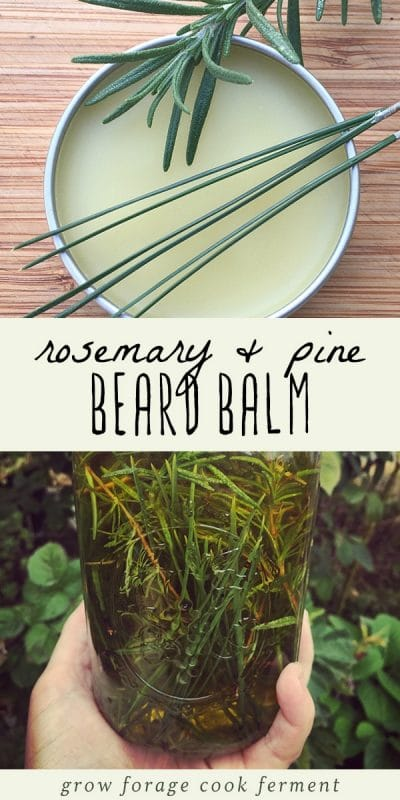 A tin of rosemary pine beard balm and a mason jar of oil infused with pine needles.