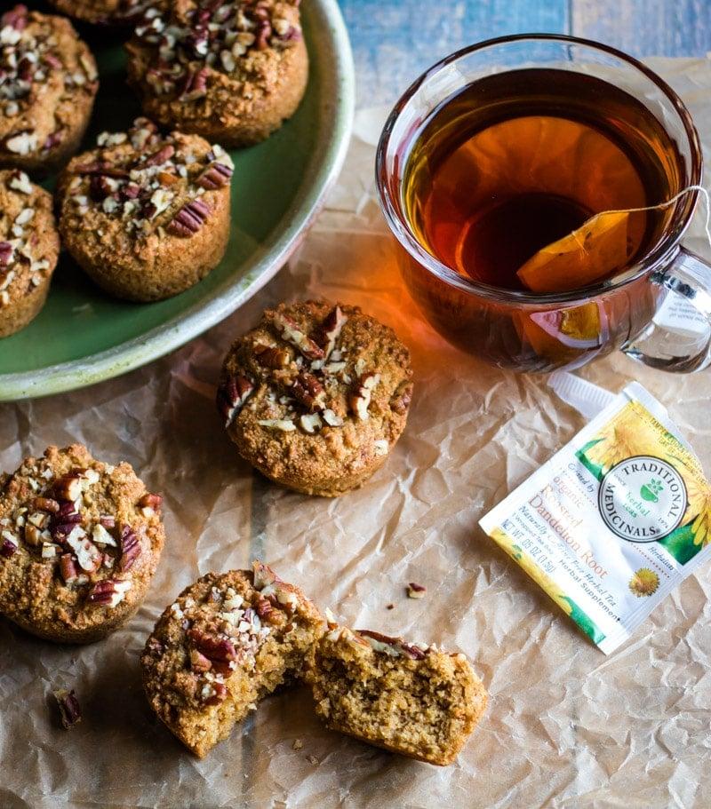 dandelion root muffins and roasted dandelion root tea
