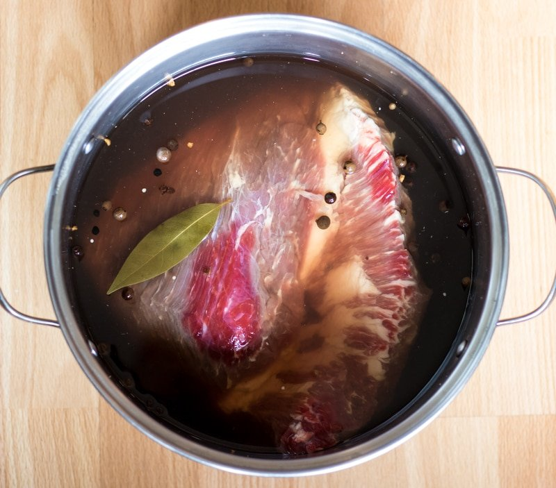 brisket in a pot of brine
