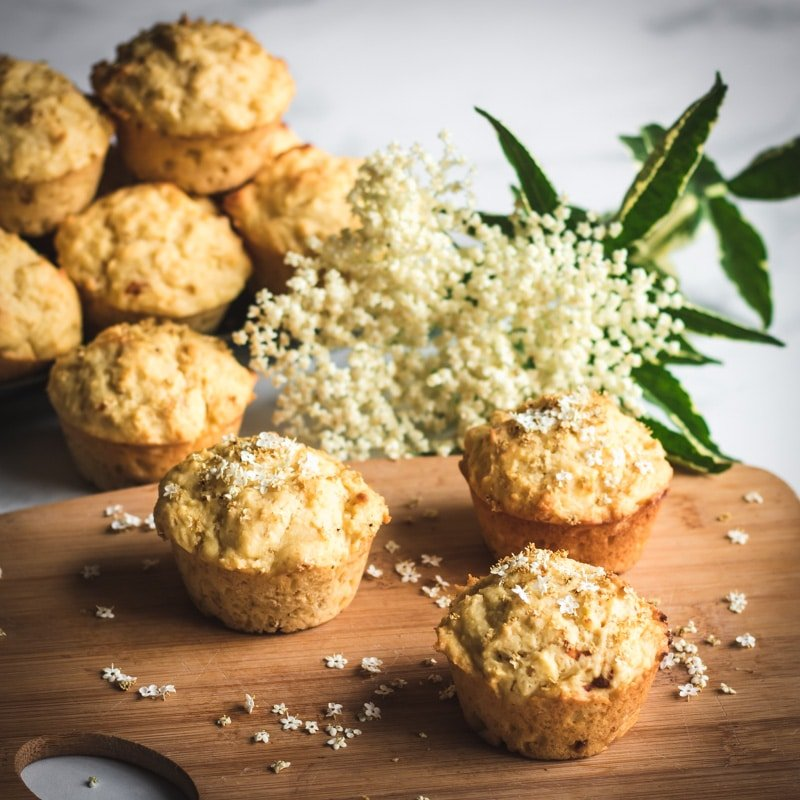 elderflower honey muffins on a cutting board