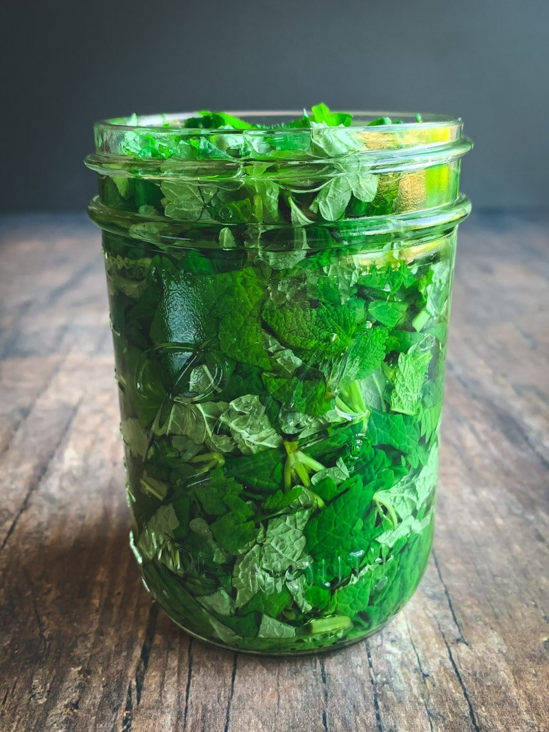 a mason jar of lemon balm tincture