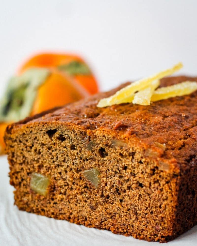 close up of cut persimmon bread