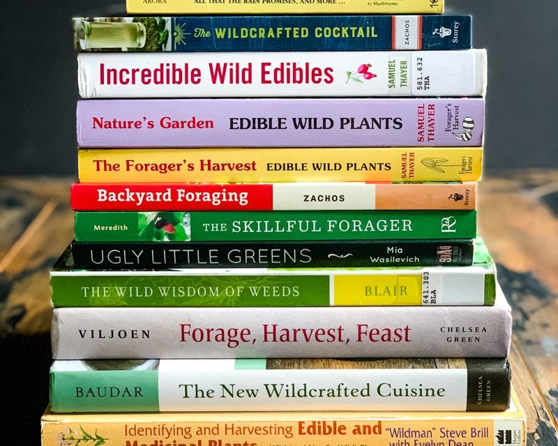 a stack of foraging guidebooks