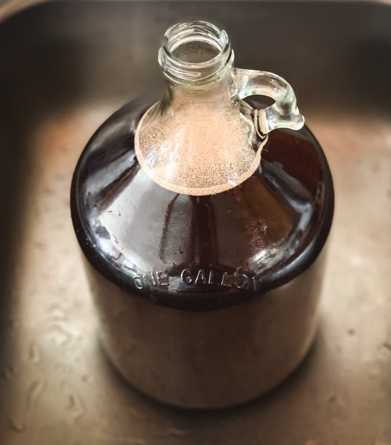 pitching the yeast in a gallon jug
