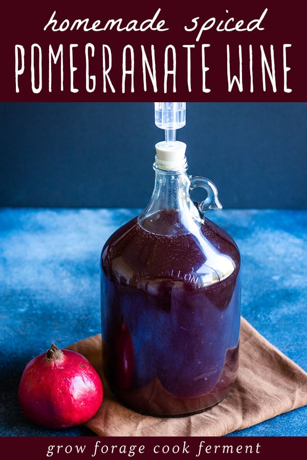 a one gallon jug of pomegranate wine