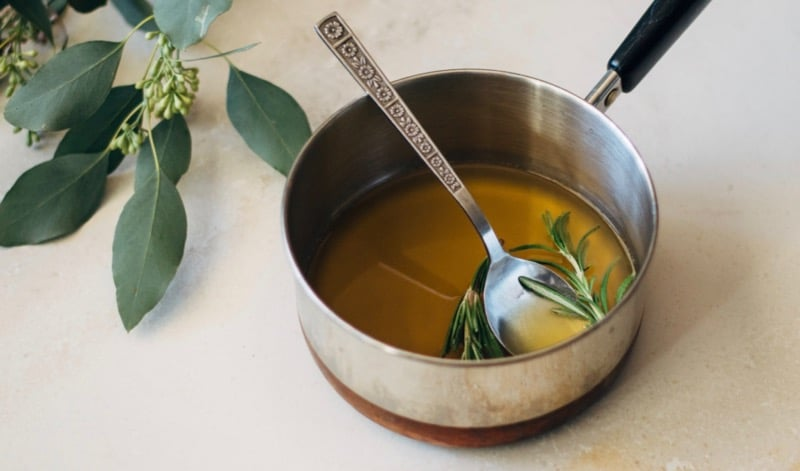 making rosemary honey syrup
