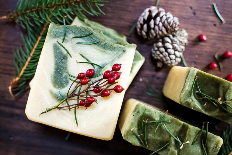 pine soap with red berries from above