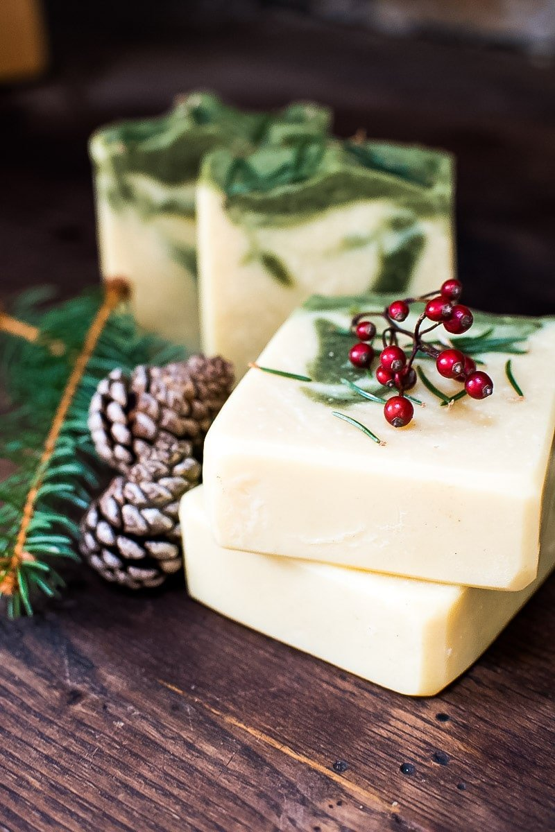 pine soap decorated with red berries