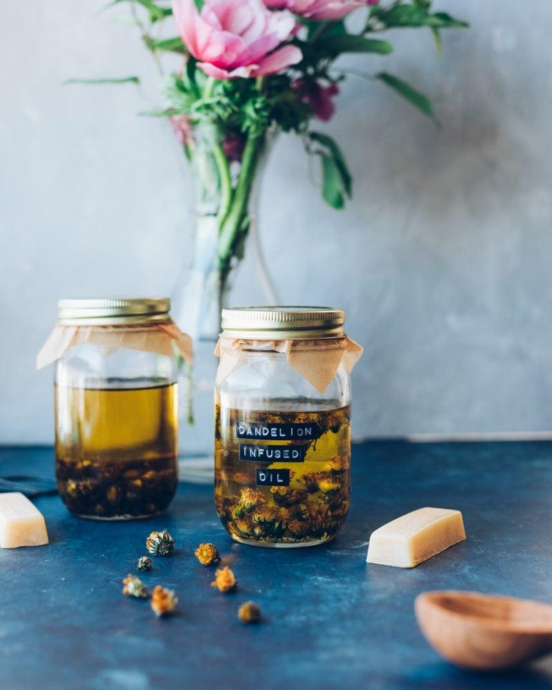 a jar of dandelion infused oil