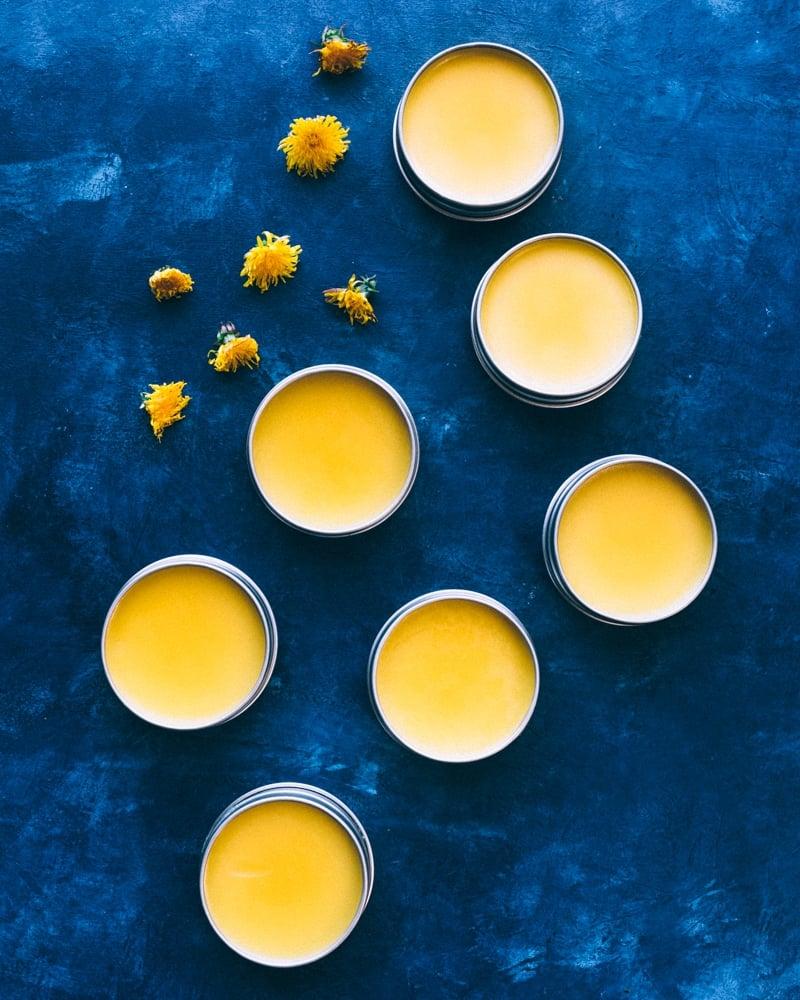 tins of dandelion salve with fresh dandelions