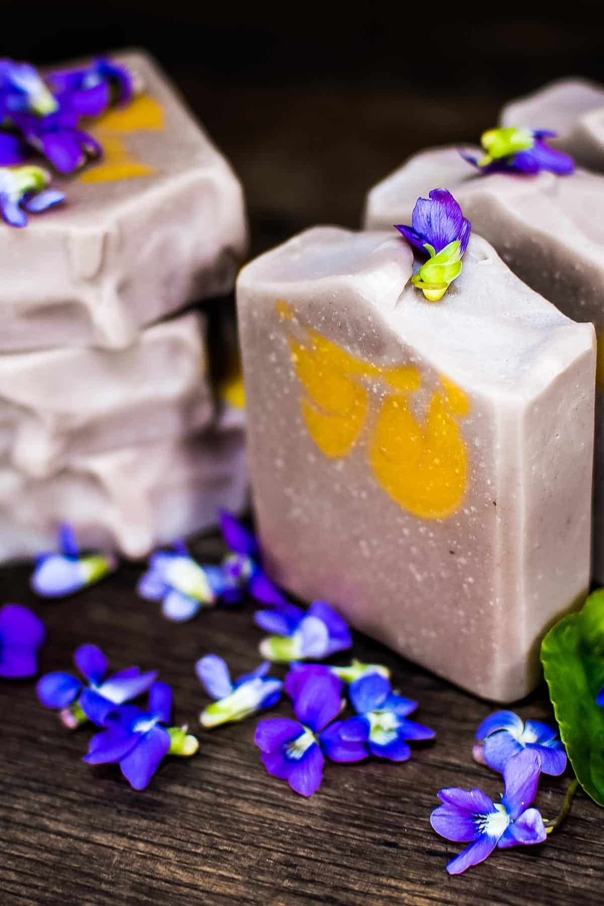 violet soap bars with purple flowers
