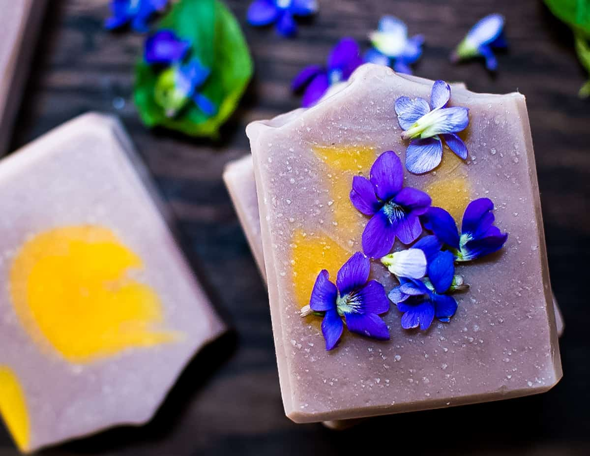 soap with a sprinkle of wild violets