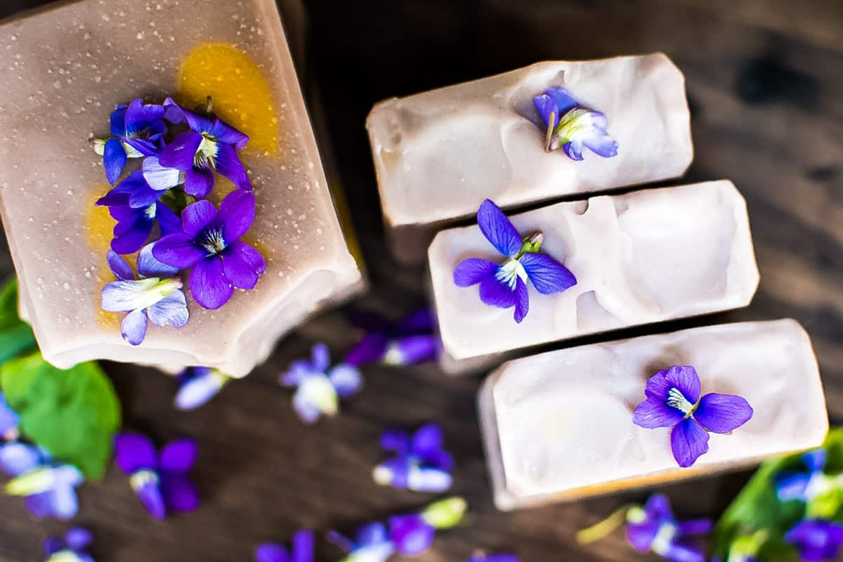 the tops of homemade wild violet soap