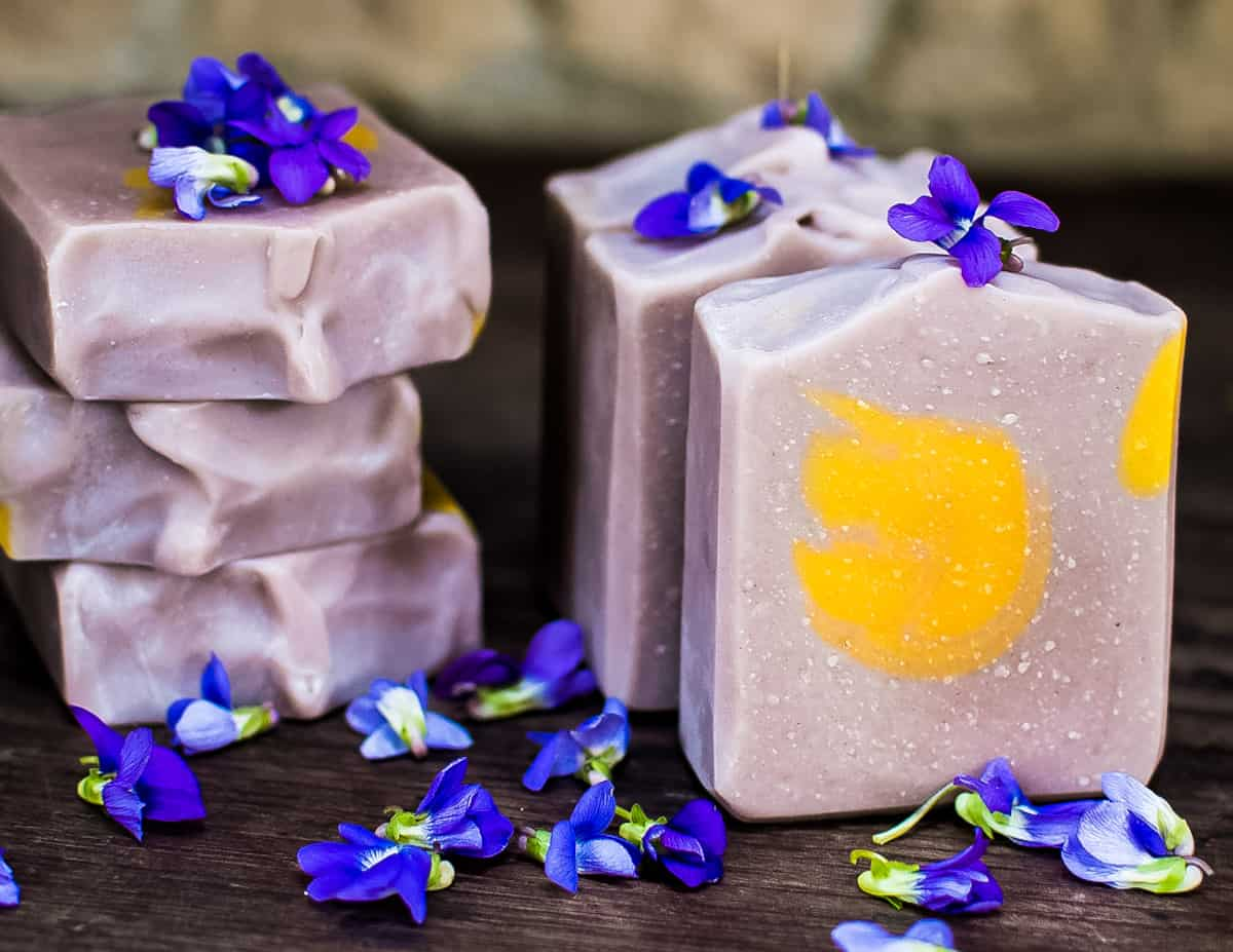 beautiful purple wild violet soap with a yellow center