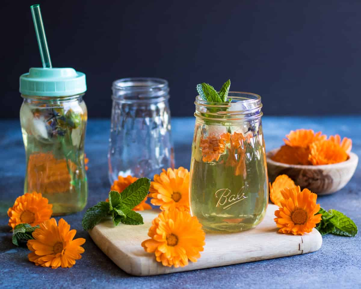a ball flute jar with calendula iced tea