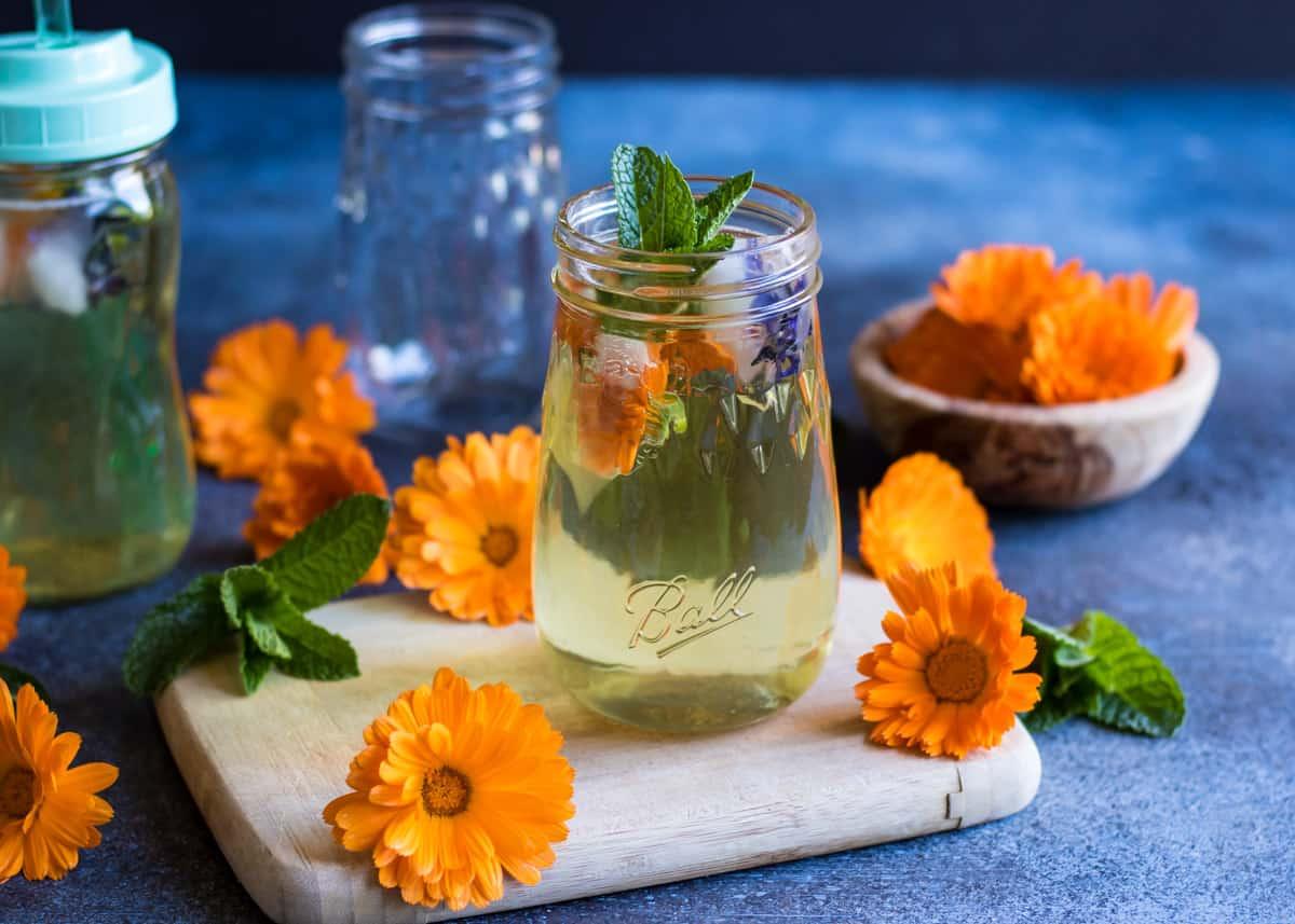 a glass of calendula iced tea