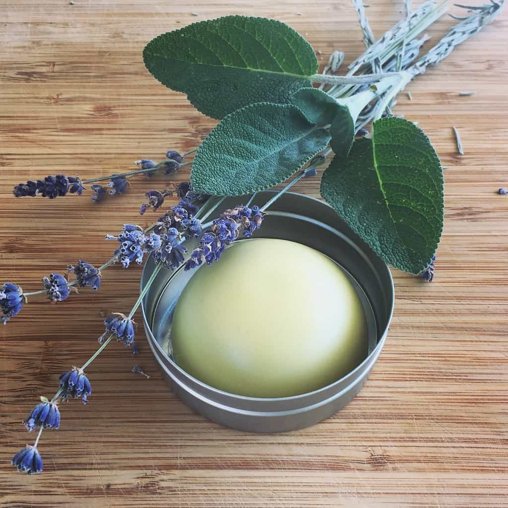 homemade lavender and sage deodorant in a tin