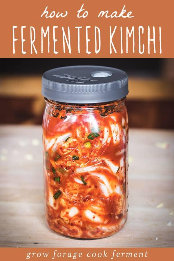 a ball jar with kimchi