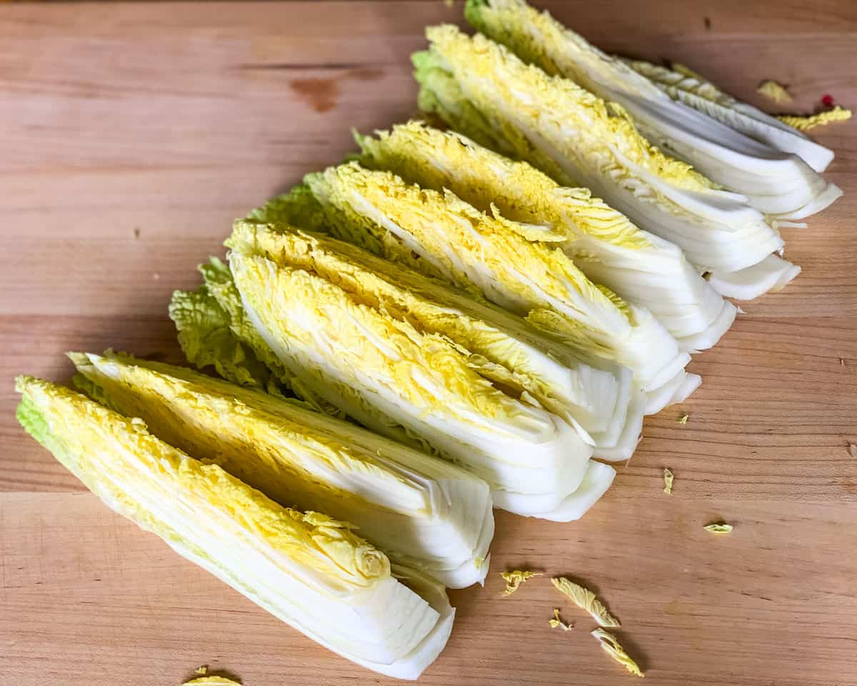 napa cabbage cut into long ribbons