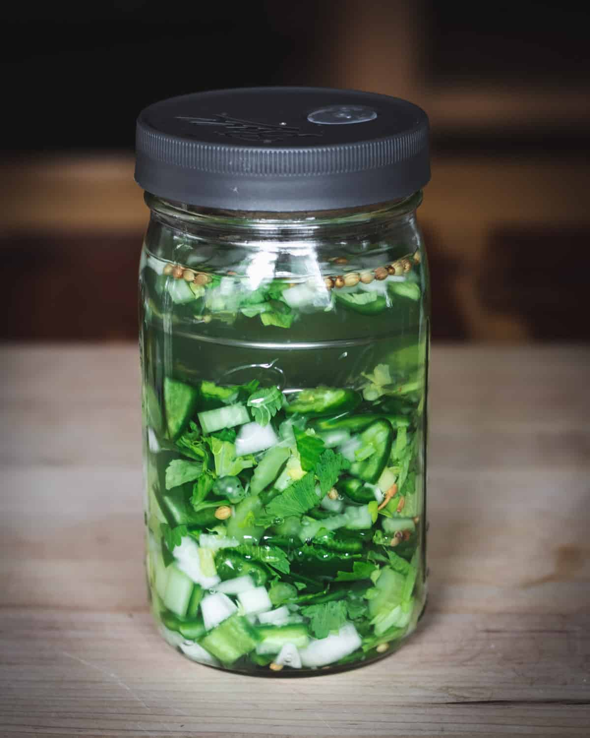 jalapeno hot sauce in jar before fermenting