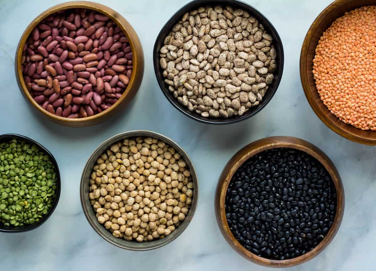 bowls of different colored dried beans