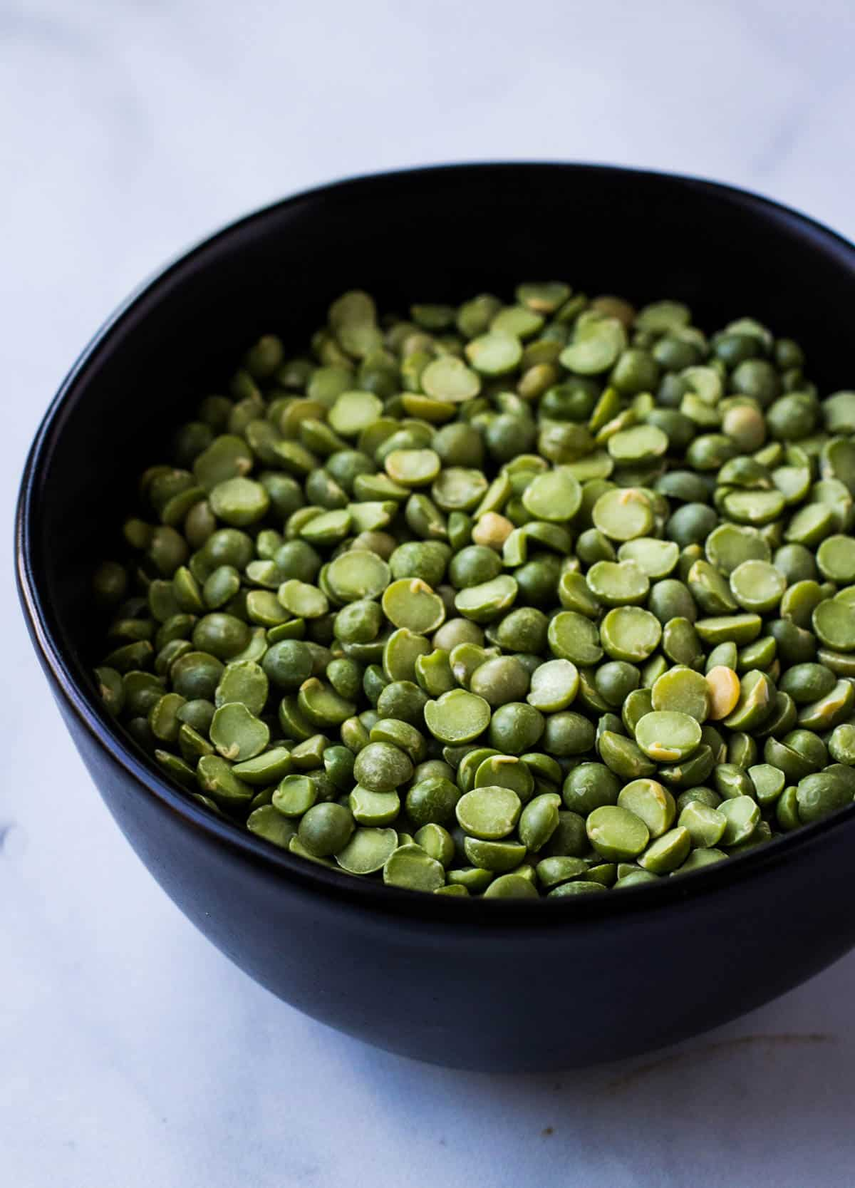 a bowl of dried split peas