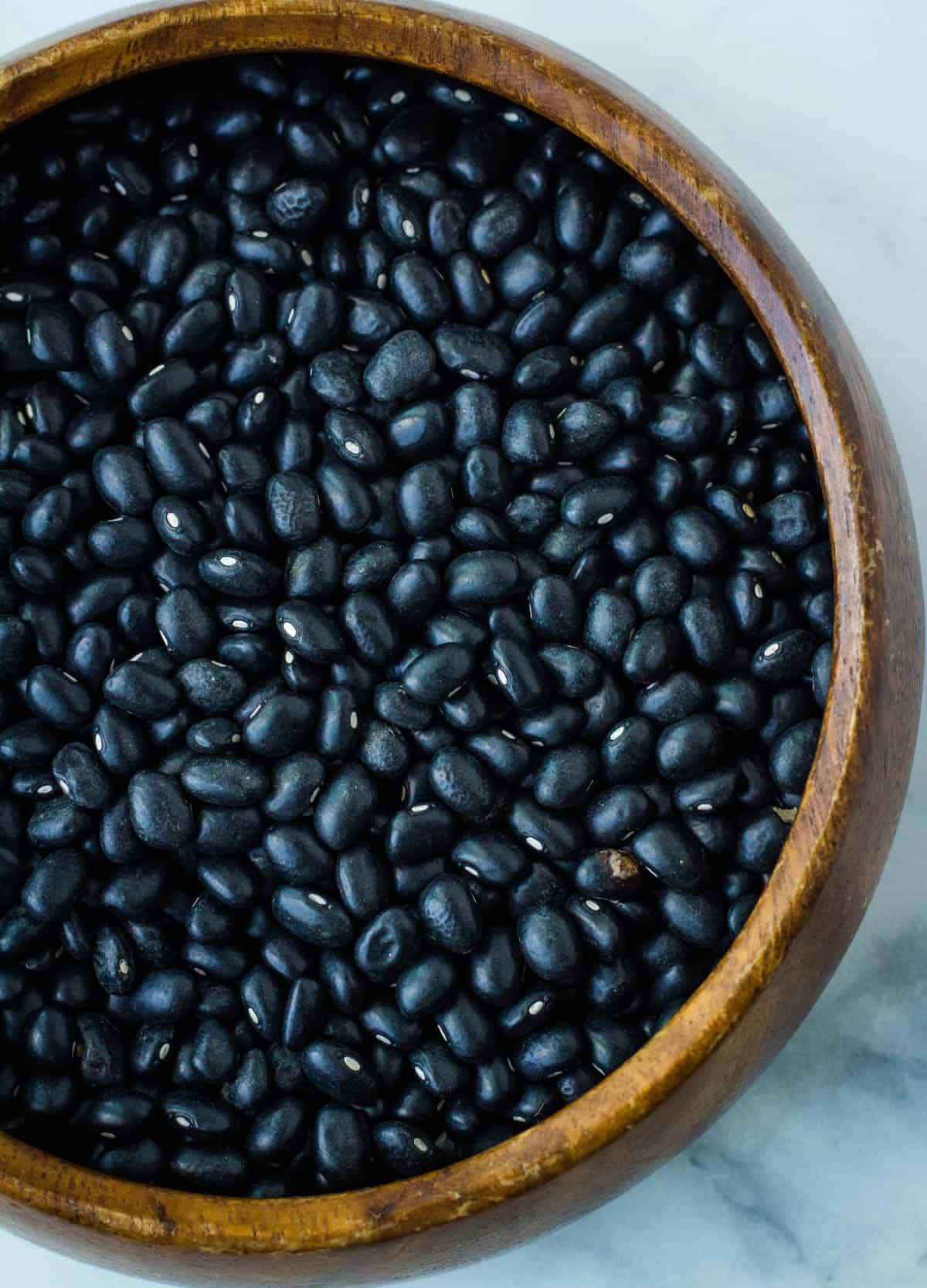 a bowl of dried black beans