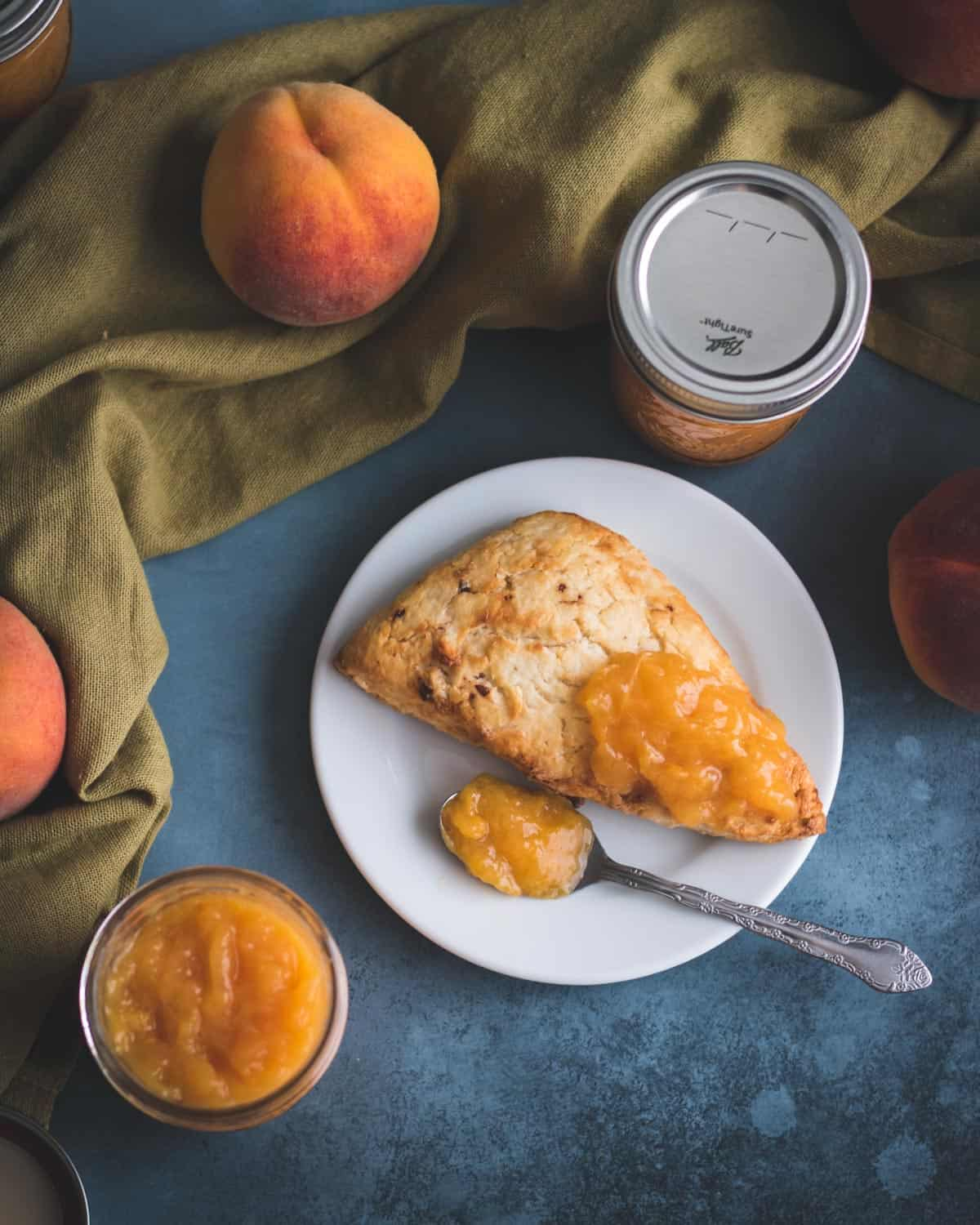 no sugar peach jam on a scone