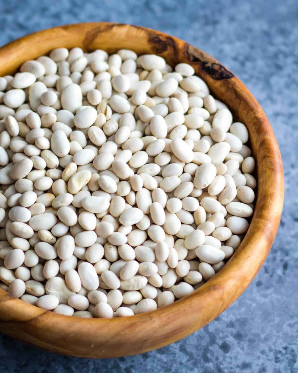 a bowl of dried white beans